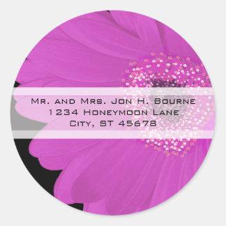 Elegante pinkfarbene Gerber Runder Aufkleber