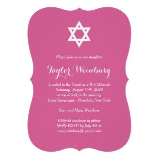 Elegante pinkfarbene Schläger Mitzvah Einladung