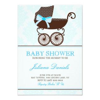 Elegante Pram-Jungen-Babyparty-Einladungen 12,7 X 17,8 Cm Einladungskarte