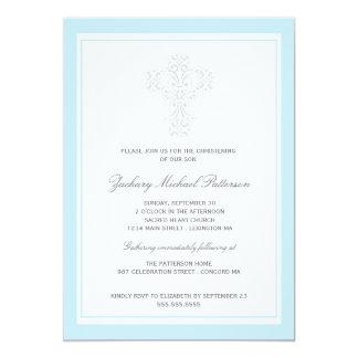 Elegante QuerBaby-Taufeinladung Individuelle Einladung