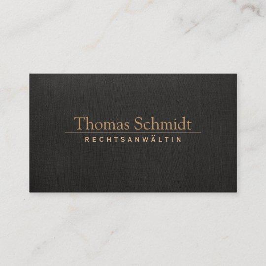 Elegante Rechtsanwalt Imitat Schwarzem Leinen Visitenkarte