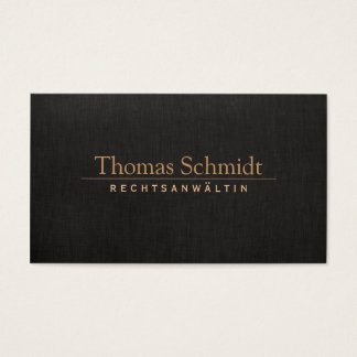 Elegante Rechtsanwalt Imitat schwarzem Leinen Visitenkarten