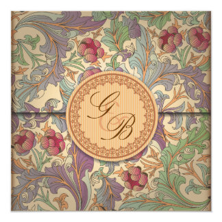 Elegante Retro Hochzeit laden Entwurf ein Quadratische 13,3 Cm Einladungskarte