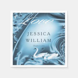 Elegante romantische blaue Schwan-Liebe-Wedding Papierservietten