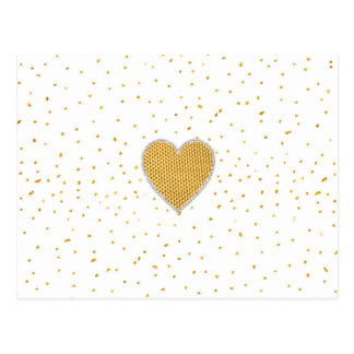 Elegante romantische Goldherz-Imitat-Glitterpunkte Postkarte