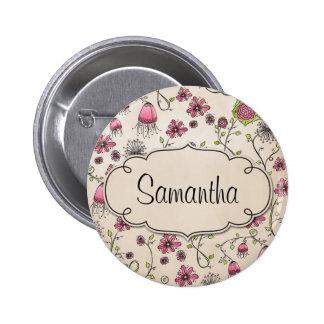 Elegante rosa Blumen mit Rahmen für Namen Runder Button 5,1 Cm