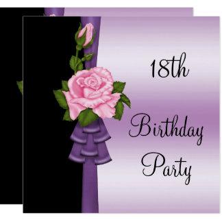 Elegante rosa Blumen-u. lila Band-18. Geburtstag Karte