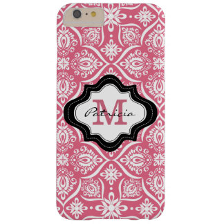 Elegante rosa Damast-Muster-Monogramm-Initiale Barely There iPhone 6 Plus Hülle