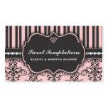 Elegante rosa Damast-u. Visitenkarte