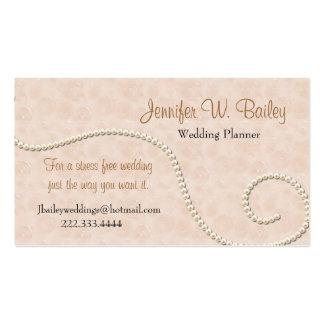 Elegante rosa Damast-und Perlen-Visitenkarte Visitenkarten