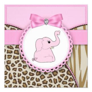 Elegante rosa Elefant-Babyparty Quadratische 13,3 Cm Einladungskarte