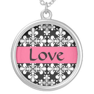 Elegante rosa Liebe Versilberte Kette