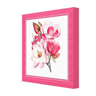 Elegante rosa Magnolien-Leinwand Leinwanddruck