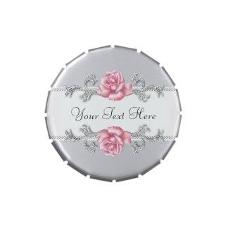 Elegante rosa Rosen-Hochzeit und Jahrestags-Party Jelly Belly Dosen