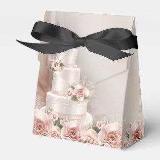 Elegante rosa Rosen-Hochzeits-Kuchen-Hochzeit Geschenkkarton