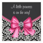 Elegante rosa schwarze Damast-Prinzessin Babyparty Einladung