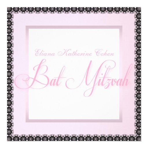 Elegante rosa schwarze Schläger Mitzvah Personalisierte Ankündigungskarten