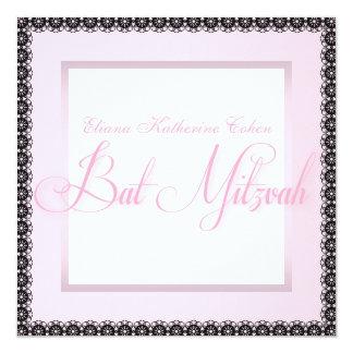Elegante rosa schwarze Schläger Mitzvah Quadratische 13,3 Cm Einladungskarte
