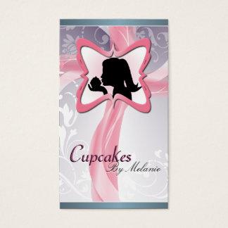 Elegante rosa Silhouette-Kuchen-Geschäfts-Karte Visitenkarten