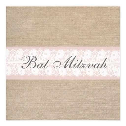 Elegante rosa Spitze-Leinwand-Schläger Mitzvah Individuelle Einladung