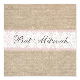 Elegante rosa Spitze-Leinwand-Schläger Mitzvah Quadratische 13,3 Cm Einladungskarte
