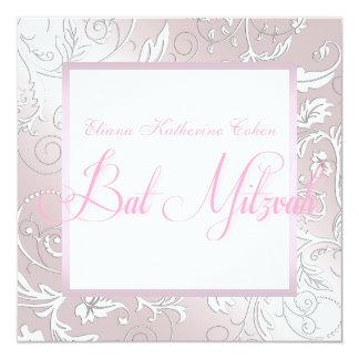 Elegante rosa Strudel-Schläger Mitzvah Einladungen