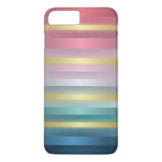 Elegante rosa Türkis-Goldstreifen iPhone 8 Plus/7 Plus Hülle