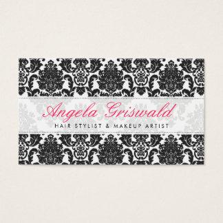 Elegante rosa u. schwarze Damast-Visitenkarten Visitenkarte