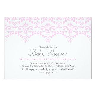 Elegante rosa u. weiße Damast-Babyparty-Einladung Karte