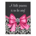 Elegante rosa und schwarze Damast-Babyparty Personalisierte Einladung