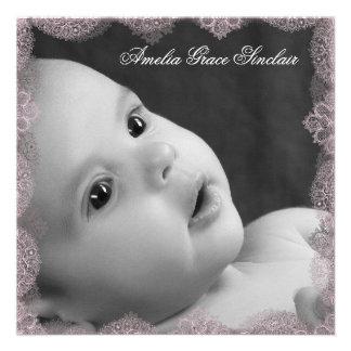 Elegante rosa und schwarze Foto-Geburts-Mitteilung Individuelle Ankündigungskarte