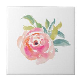 Elegante rosa Watercolor-Rosen mit Blumen Keramikfliese