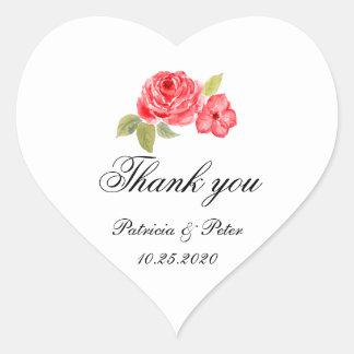 Elegante Rosen auf weißem Herzen danken Ihnen Herz-Aufkleber