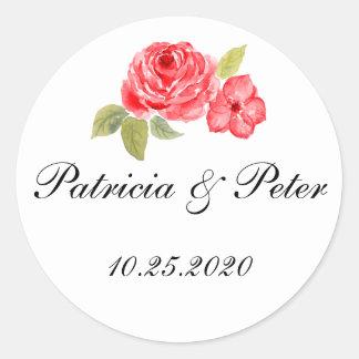 Elegante Rosen auf weißem rundem Siegel Runder Aufkleber