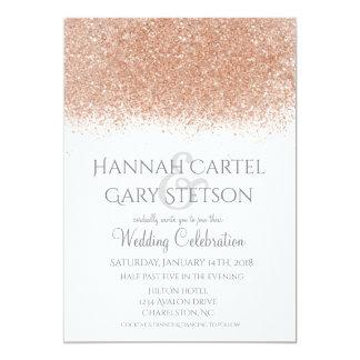 Elegante Rosen-GoldGlitter-Hochzeits-Einladung Karte
