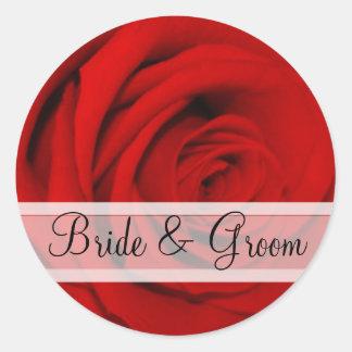 Elegante Rosen-Hochzeits-Aufkleber Runder Aufkleber