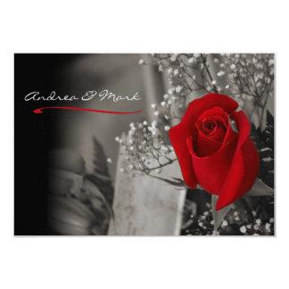 Elegante Rosen-Schwarzweiss-Hochzeit Karte