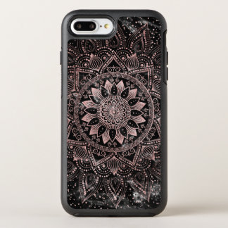 Elegante Rosengoldmandalapunkte und Marmorgrafik OtterBox Symmetry iPhone 8 Plus/7 Plus Hülle