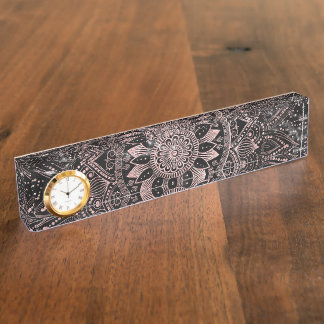 Elegante Rosengoldmandalapunkte und Marmorgrafik Schreibtischplakette