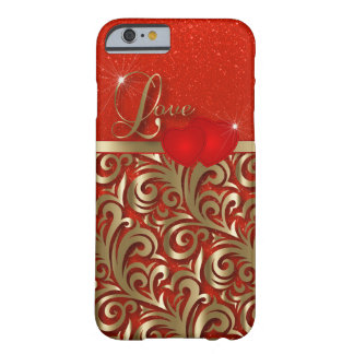 Elegante Rot-u. GoldLiebe Barely There iPhone 6 Hülle