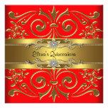 Elegante Rot und GoldQuinceanera Einladungen
