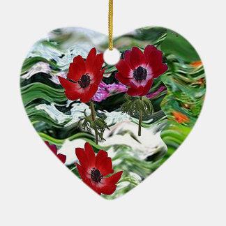 Elegante rote Anemonen-Blumen-Anzeige auf Keramik Herz-Ornament