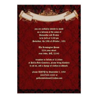 Elegante rote Damast Goth Hochzeits-Einladung
