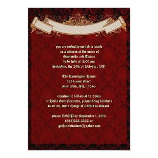 Elegante rote Damast Goth Hochzeits-Einladung 12,7 X 17,8 Cm Einladungskarte