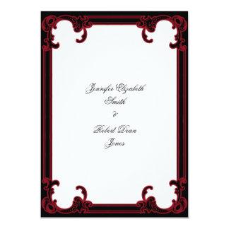 Elegante rote gotische Rahmen-Hochzeits-Einladung Karte