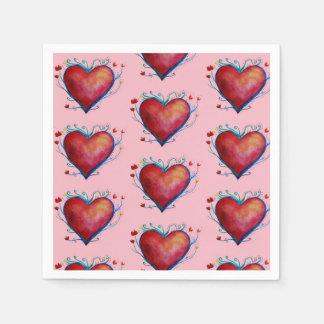 Elegante rote Herz-rosa Hochzeits-Servietten Servietten