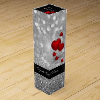 Elegante rote Herzen - Wein-Geschenkboxen Flaschen Geschenkverpackungen