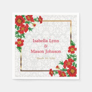 Elegante rote Mohnblumen-Blumen Papierserviette