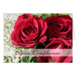 Elegante Rote Rosen des italienischen Geburtstages Karte