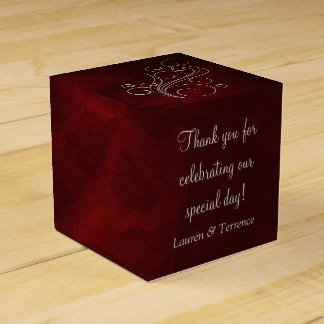 Elegante rote silberne Hochzeit Geschenkschachtel